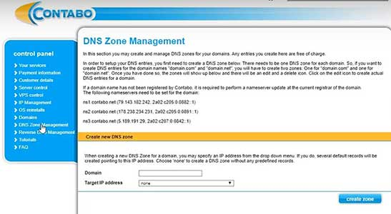 contabo DNS zone management