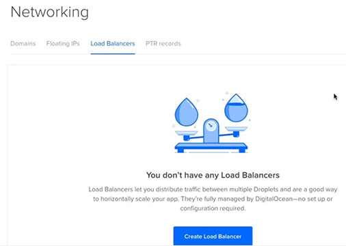 digitalocean load balancer networking tab and clicking