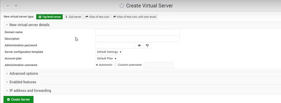 contabo VPS webmin add a domain