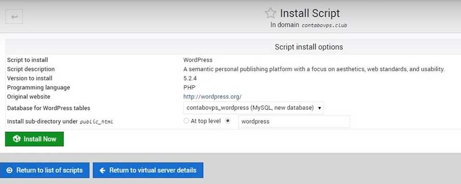 Install WordPress and SSL certificate On Webmin Contabo VPS