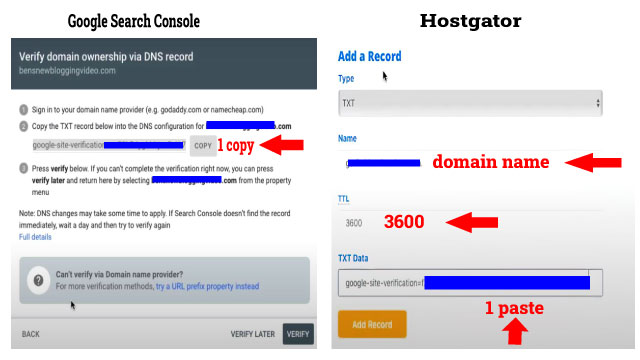 hostgator dns configuration google search console
